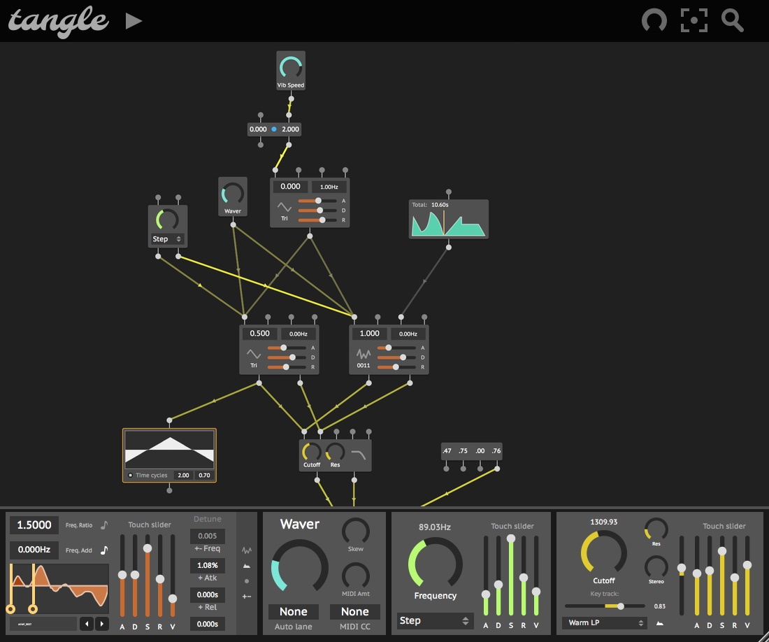 Screenshot of the Tangle plugin.